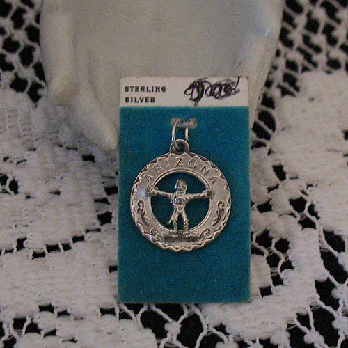 50% OFF~Vintage Sterling Silver Charm American Indian Arizona Figure Headdress Original Card Signed Crea