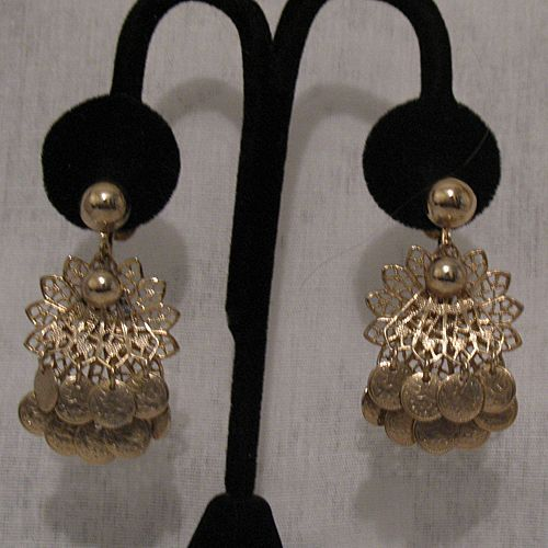 50% OFF~Vintage Unsigned Miriam Haskell Dangle Charm Filigree Earrings