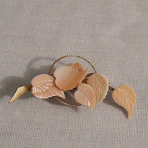 50% OFF~Feminine Vintage Pink Coral Cut Glass Leaf Brooch~Unworn