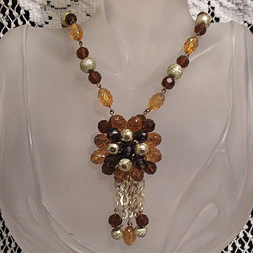 50% OFF~Vintage Unsigned Brass Guilt Beaded Tassel Necklace~Beautiful