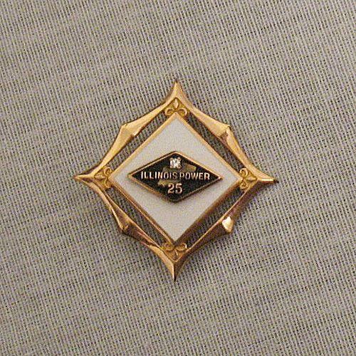 50% OFF~Vintage Diamond 10K Gold Filled Award Brooch/Pin Fleur de lis~Illinois Power 25 Year  Enameled