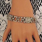 50% OFF~Vintage Art Deco Brick Link Rhinestone Bracelet