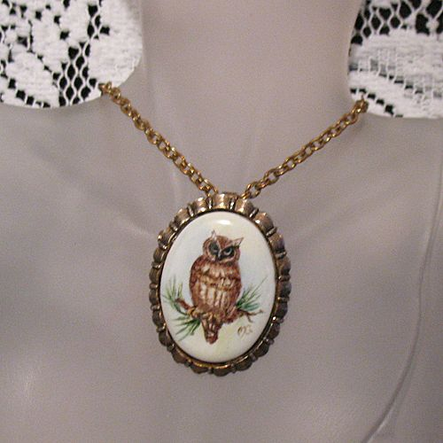 50% OFF~Rare Vintage Artist Signed MG Owl Pendant Necklace Brooch Convertible