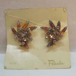 50% OFF~Signed Pakula HUGE Vintage Art Glass Rhinestone Earrings~Original Card