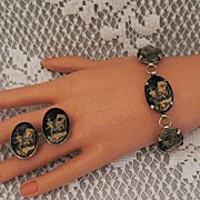 50% OFF~Vintage Rickshaw Reverse Intaglio Glass Bracelet Earrings Set