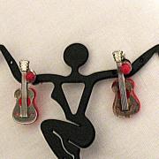 50% OFF~Vintage Rockabilly Novelty Guitar Pierced Earrings/Jackets
