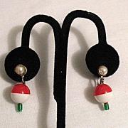 50% OFF~Vintage Fishing Bobber Screw Back Earrings Novelty Jewelry