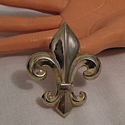 50% OFF~Big Bold Vintage Hollowware Fleur de lis Brooch/Pin