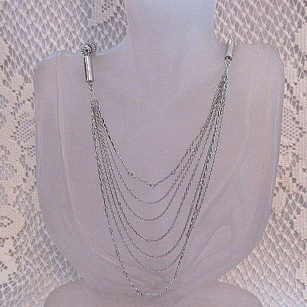 50% OFF~Vintage Silver Rhodium Plated Festoon 7 Chain Necklace