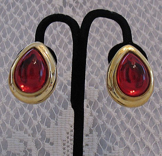 50% OFF~HUGE Vintage Red Givre Glass Earrings~Statement Jewelry