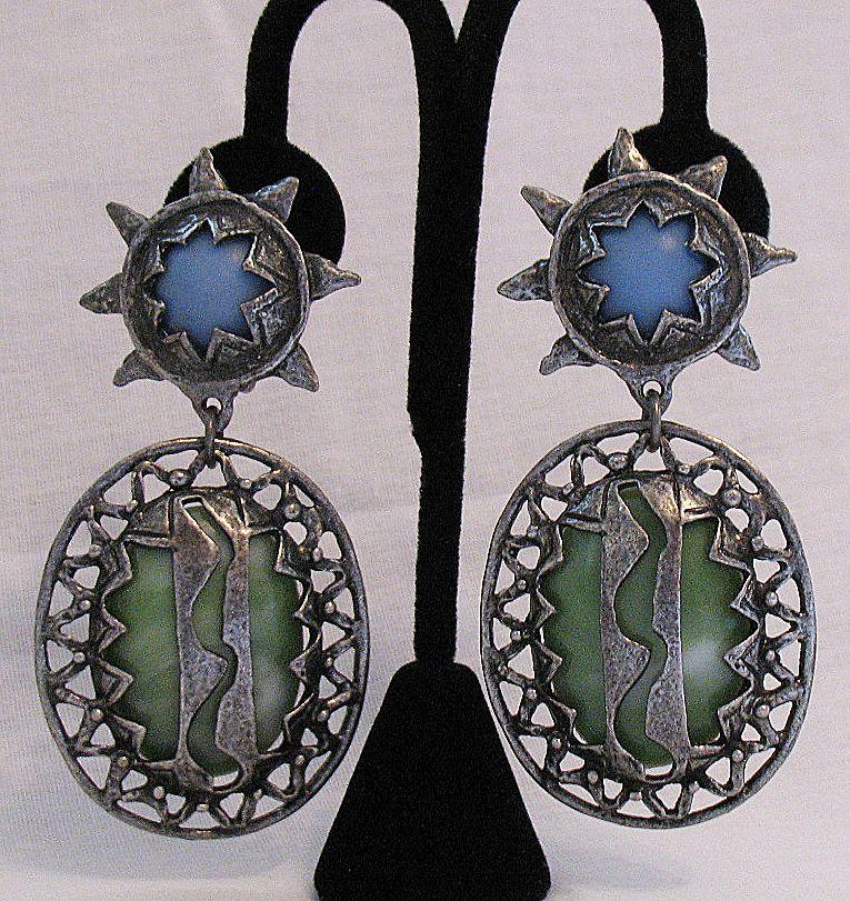 50% OFF~Vintage Egyptian Revival Clip Earrings Lucite Sun Star Lighten Bolt Shoulder Duster