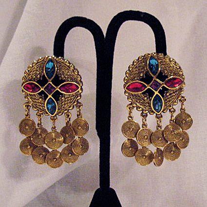 50% OFF~Unique Vintage Egyptian Revival Rhinestone Charm Earrings