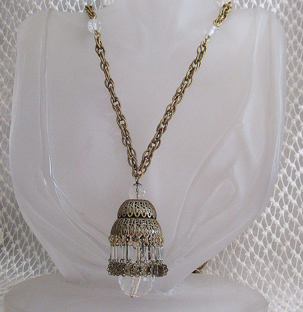 50% OFF~Fabulous Vintage Brass Chandelier Necklace~Glass Beaded