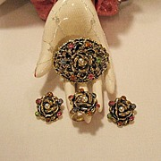 50% OFF~Rare Vintage Florenza Rose Parure Brooch Ring Earrings