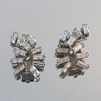 50% OFF~Spectacular Vintage Baguette Rhinestone Clip Earrings