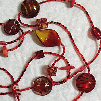 50% OFF~Amazing Vintage Glass Necklace~Cherry Red Art Glass & Floral Pressed Glass Bead