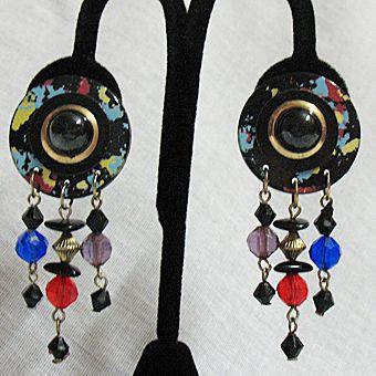 50% OFF~Vintage Paper Mache Pierced Earrings Beaded Splatter Painted