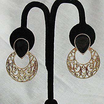 50% OFF~Vintage Signed Val Pierced Earrings Filigree Enameling