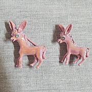 50% OFF~Darling Vintage Metal Pink Enameled Donkey Scatter Pins/Brooches