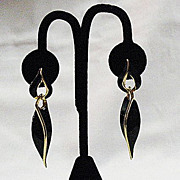 50% OFF~Vintage Abstract Door Knocker Black Enameled Dangle Pierced Earrings