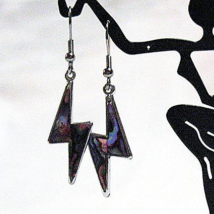 50% OFF~Vintage Silver Lighten Bolt Enameled Pierced Earrings