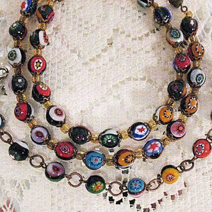 50% OFF~Venetian Millefiori Glass Beaded Vintage Necklace Bracelet Set~Floral