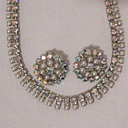 50% OFF~Gorgeous Signed B David Vintage Rhinestone Pearl Necklace Earrings Set