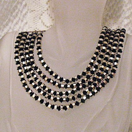 50% OFF~Unusual Bold Vintage 5 Strand Necklace Steel Black Glass Beads