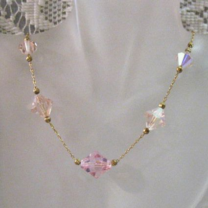 50% OFF~Art Deco Pink Leaded Crystal Glass Necklace Paper Clip Chain