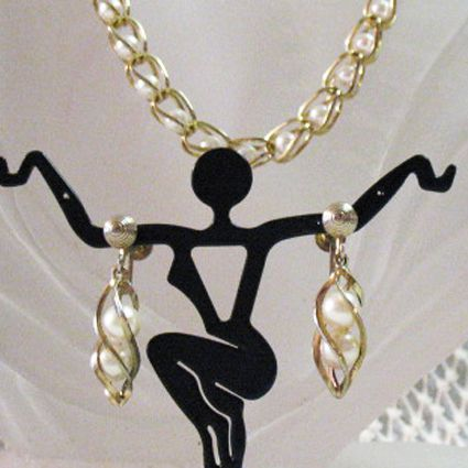 50% OFF~Beautiful Vintage Caged Pearl Necklace Dangle Earrings Screw Back