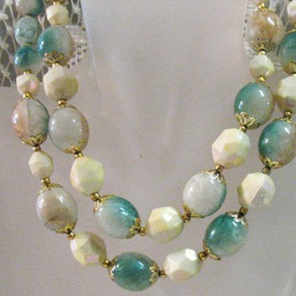 50% OFF~Vintage Lucite Faux Turquoise  Double Strand Necklace Signed Hong Kong