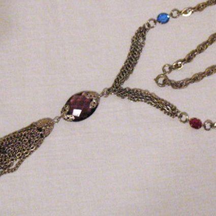 50% OFF~Amethyst Glass Stone Collet Tassel Vintage Necklace