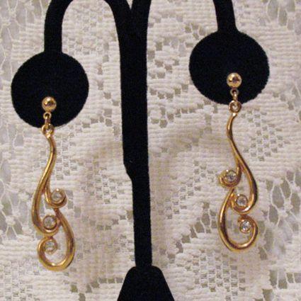 50% OFF~Chic Vintage Dangle Swirl Rhinestone Pierced Earrings