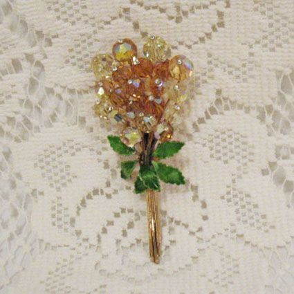 50% OFF~Magnificent 4 Inch Amber Glass Beaded Brooch Rhinestones Enameled Flower Bouquet