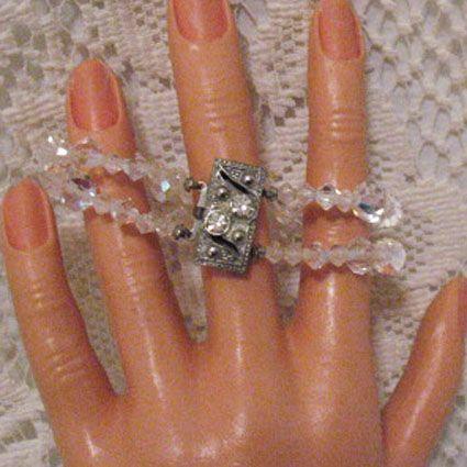 50% OFF~Rainbow Vintage Faceted Crystal Glass Beaded Bracelet~Rhinestone Clasp