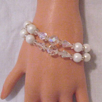 50% OFF~Vintage White Faux Pearl Crystal Glass Beaded Bracelet Rhinestone Clasp