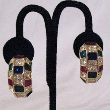 50% OFF~High End Vintage Pava Rhinestone Half Hoop Earrings~BOLD
