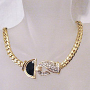 50% OFF~Super Chunky Vintage 24 Carat Gold Plated Necklace~Faux Marquisite