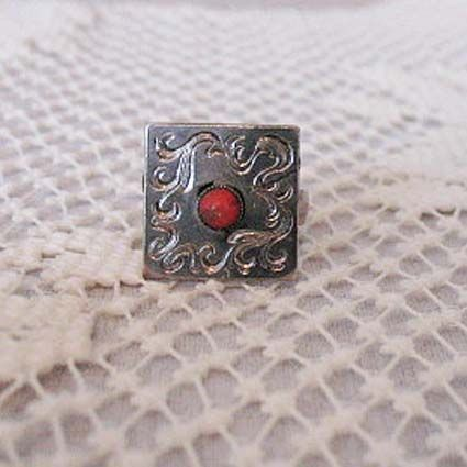 50% OFF~Fun Vintage Fashion Statement Ring Silver Etched Glass Coral