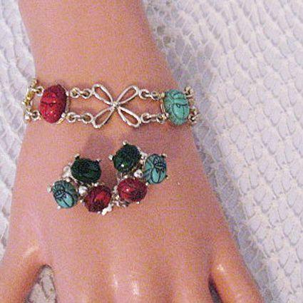 50% OFF~Unusual Vintage Floral Scarab Thermoset Bracelet Earrings Set