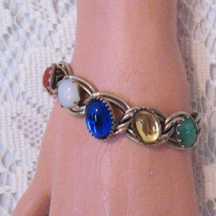 50% OFF Unique Chunky Vintage Glass Gemstone Bracelet