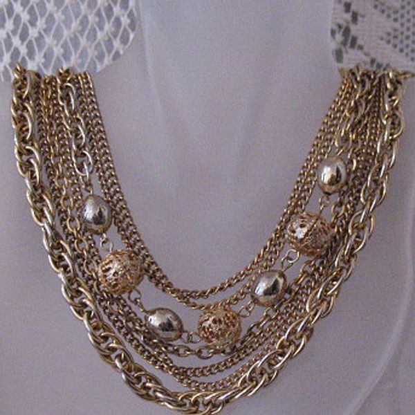 50% OFF~Amazing Brass Vintage 7 Chain Torsade Filigree Beaded Necklace