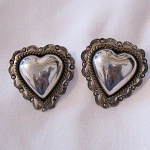 Vintage Signed Taxco Sterling Silver Heart Earrings~Pierced