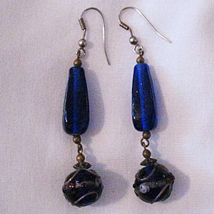 Very Old Brass Pierced Earrings Lapis Blue Venetian Glass Wedding Cake Beads