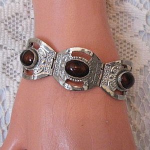 50% OFF Vintage Sterling Silver Brown Jasper Bracelet Hallmarked