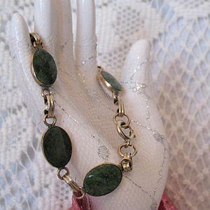 50% OFF~Gorgeous Vintage 12K Gold Filled Natural Jade Bracelet
