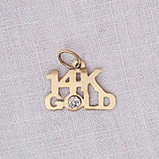 Fun Vintage 14K Gold Charm Diamond Chip