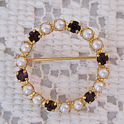 50% OFF~Petite Vintage Faux Pearl & Garnet Rhinestone Eternity Brooch/Pin