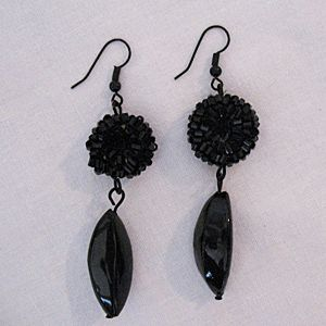 Very Unusual Japanned Pierced Earrings Black Glass Dangle Shoulder Dusters