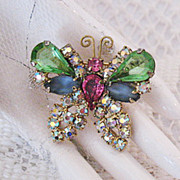 Amazing Huge Rhinestones Satin Glass Butterfly Brooch